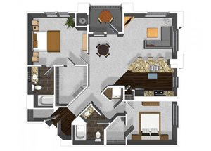Two bedroom two bathroom B2 floor plan at Cerano Apartments in Milpitas, CA