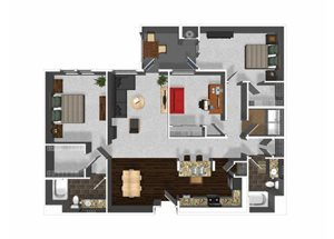 Three bedroom two bathroom C1 floor plan at Cerano Apartments in Milpitas, CA