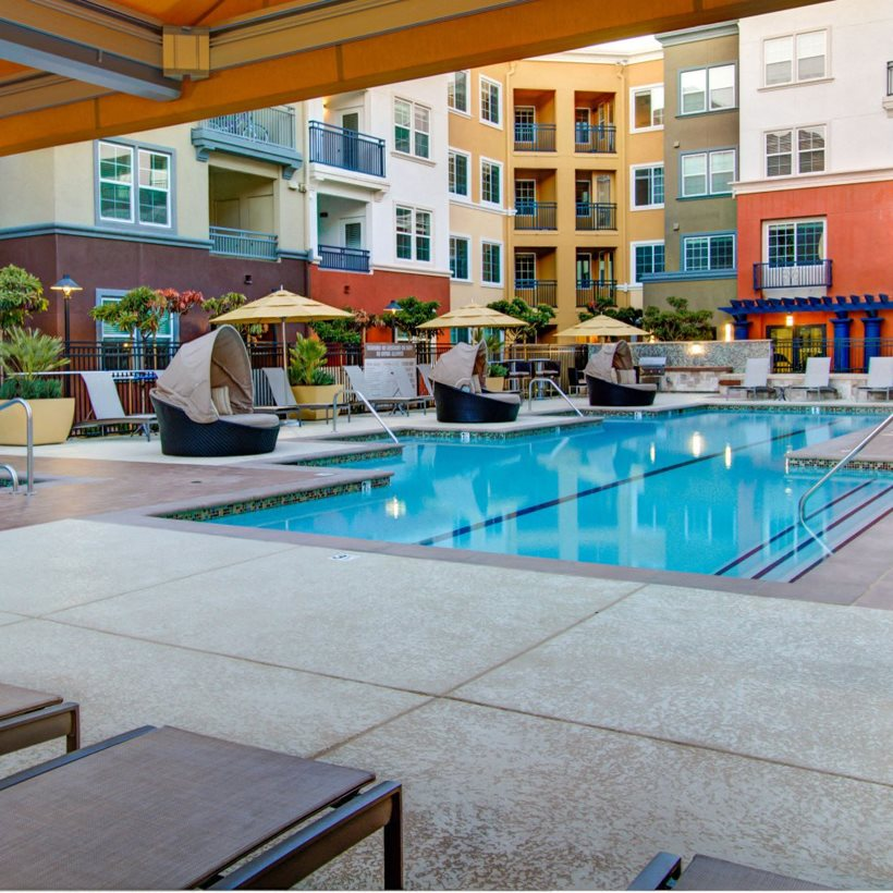 Pool at Cerano Apartments in Milpitas, CA