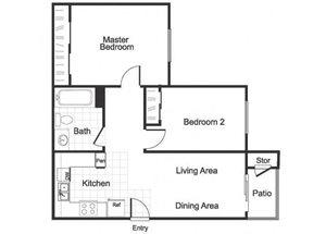 2 Bedroom 1 Bathroom B1 floorplan at Hidden Creek Apartments in Marinez, CA
