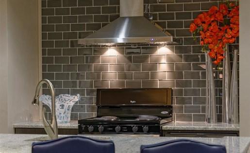 Community kitchen at The Prato at Midtown Apartments in Atlanta, GA