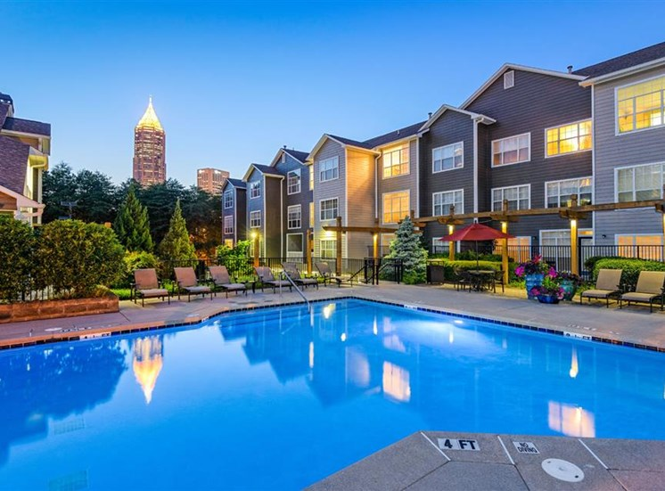 Swimming pool at The Prato at Midtown Apartments in Atlanta, GA