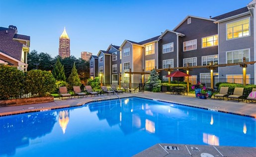Swimming pool at The Prato at Midtown Apartments in Atlanta, GA