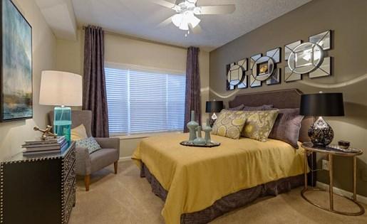 Bedroom at The Prato at Midtown Apartments in Atlanta, GA