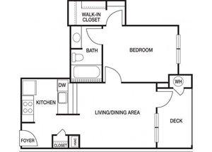 One bedroom one bathroom A2 floorplan at The Prato at Midtown Apartments in Atlanta, GA