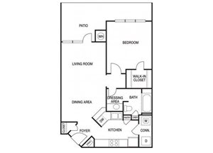 One bedroom one bathroom A3 floorplan at The Prato at Midtown Apartments in Atlanta, GA