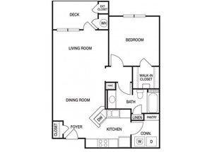 One bedroom one bathroom A4 floorplan at The Prato at Midtown Apartments in Atlanta, GA