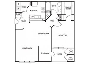 One bedroom one bathroom A51 floorplan at The Prato at Midtown Apartments in Atlanta, GA