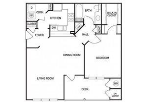 One bedroom one bathroom A5 floorplan at The Prato at Midtown Apartments in Atlanta, GA