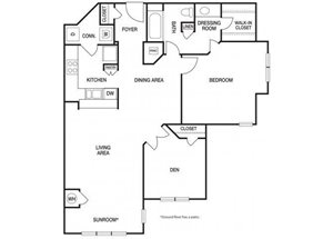 One bedroom one bathroom A8 floorplan at The Prato at Midtown Apartments in Atlanta, GA