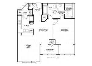 One bedroom one bathroom A9 floorplan at The Prato at Midtown Apartments in Atlanta, GA