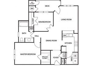 Two bedroom one bathroom B1 floorplan at The Prato at Midtown Apartments in Atlanta, GA