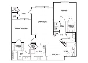 Two bedroom two bathroom B5 floorplan at The Prato at Midtown Apartments in Atlanta, GA
