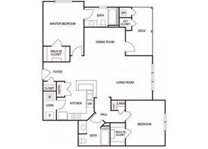 Two bedroom two bathroom B6 floorplan at The Prato at Midtown Apartments in Atlanta, GA