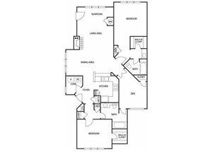 Two bedroom two bathroom B8 floorplan at The Prato at Midtown Apartments in Atlanta, GA
