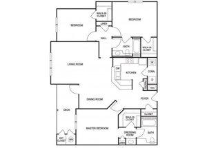 Three bedroom two bathroom C1 floorplan at The Prato at Midtown Apartments in Atlanta, GA