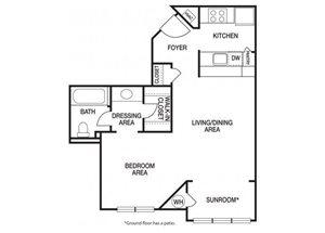 Studio one bathroom E1 and E11 floorplan at The Prato at Midtown Apartments in Atlanta, GA