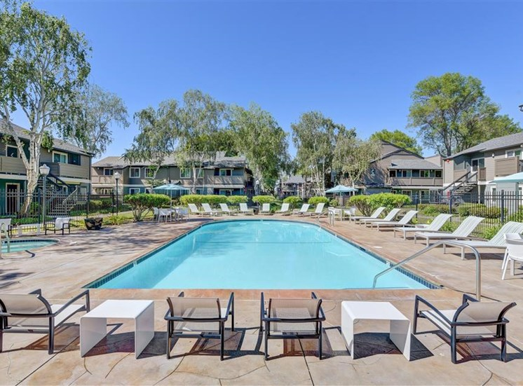 Pool furniture at Sora Apartments in Union City CA