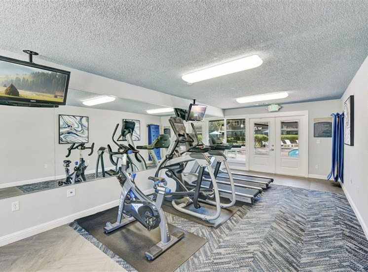 Fitness center cardio machines at Sora Apartments in Union City CA