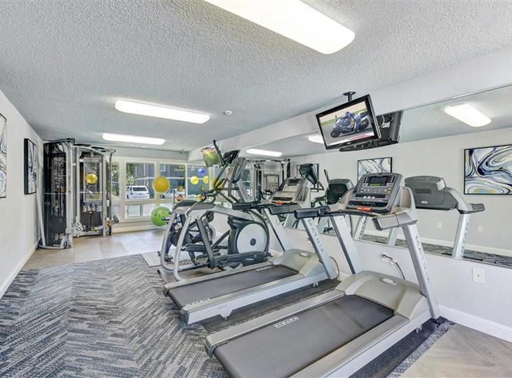 Fitness center treadmill at Sora Apartments in Union City CA