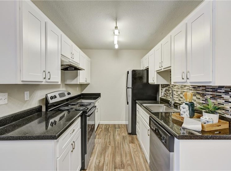 Renovated kitchen at Sora Apartments in Union City CA