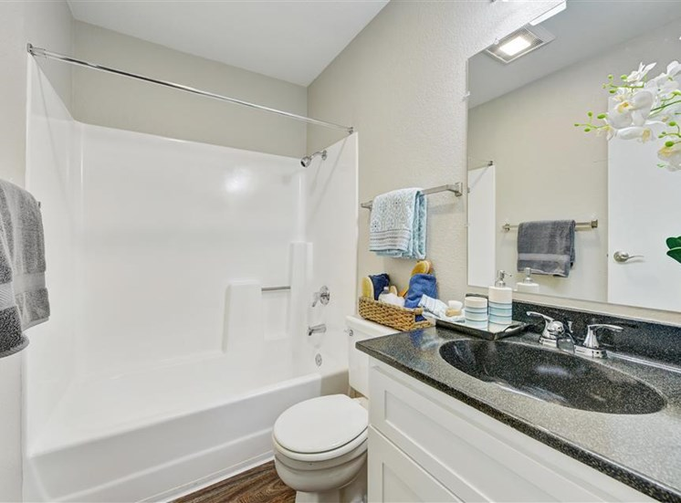 Renovated bathroom at Sora Apartments in Union City CA