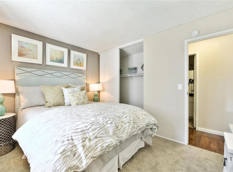 Guest bedroom at Sora Apartments in Union City CA