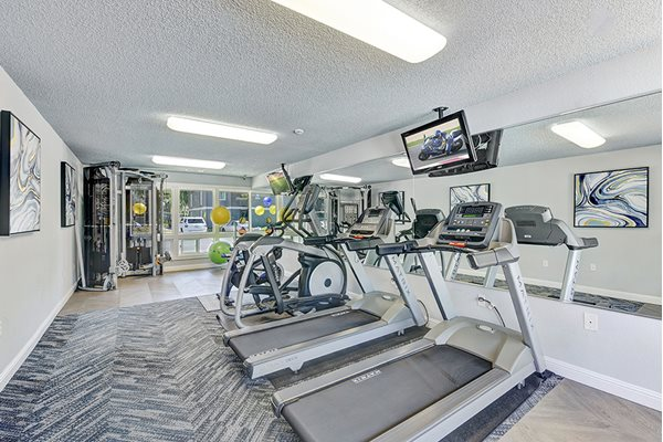 Fitness center at Sora Apartments in Union City CA