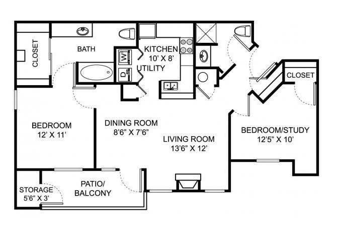 Two bedroom two bathroom B1 floorplan at Steeplechase at Shiloh Crossing Apartments in Avon, IN