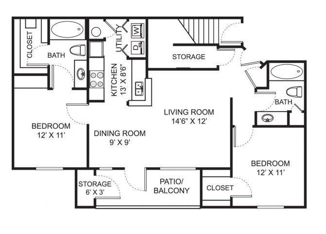 Two bedroom two bathroom B2 floorplan at Steeplechase at Shiloh Crossing Apartments in Avon, IN