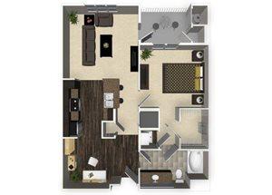 1 bedroom 1 bathroom apartment A2L floorplan at Venue Apartments in San Jose, CA