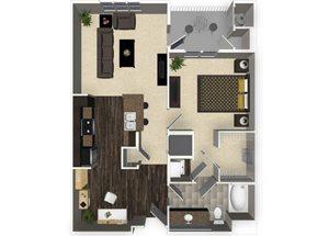 1 bedroom 1 bathroom apartment A2 floorplan at Venue Apartments in San Jose, CA