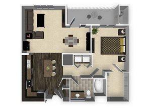 1 bedroom 1 bathroom apartment A3L floorplan at Venue Apartments in San Jose, CA