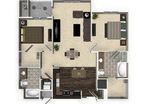 2 bedroom 2 bathroom apartment B2L floorplan at Venue Apartments in San Jose, CA