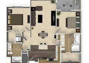 2 bedroom 2 bathroom apartment B3L floorplan at Venue Apartments in San Jose, CA