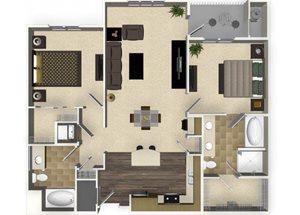 2 bedroom 2 bathroom apartment B3 floorplan at Venue Apartments in San Jose, CA
