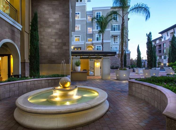 The Verdant Apartments outdoor fountain in San Jose, CA