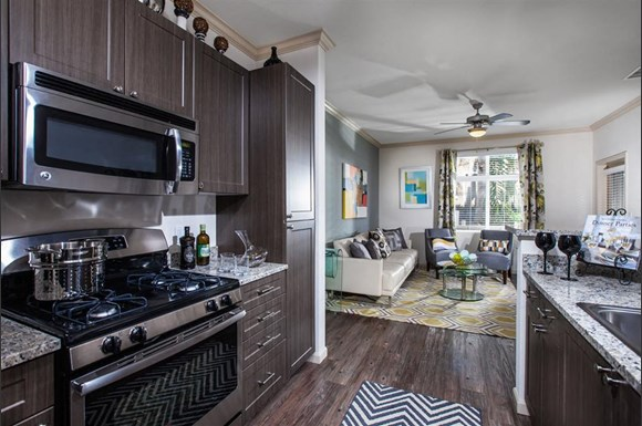 Kitchens Feature Gas Stovetops And Granite Countertops The Verdant Apartments Kitchen With Stovetop In San Jose Ca