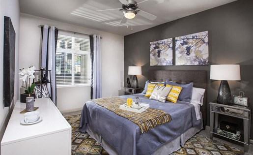 The Verdant Apartments master bedroom in San Jose, CA