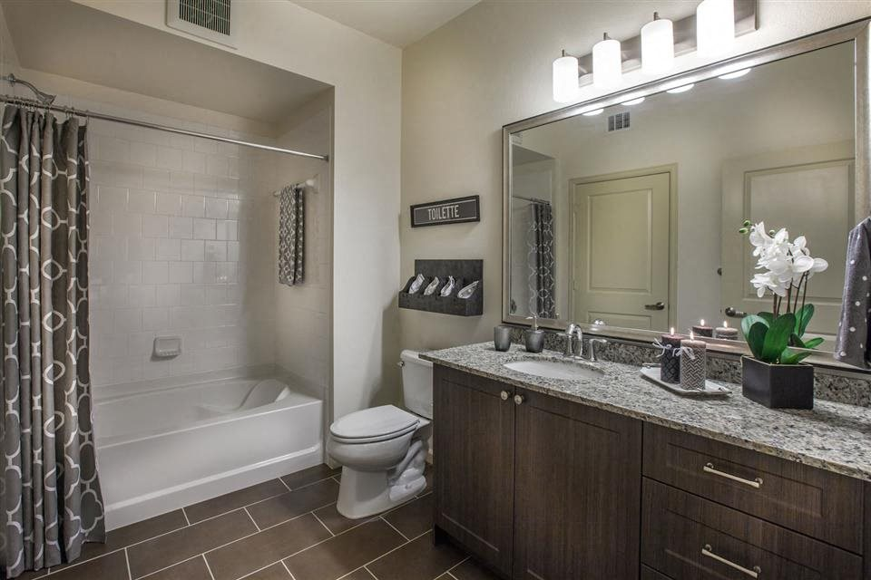 The Verdant Apartments Bathroom with framed mirror in San Jose, CA