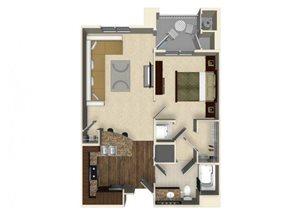 1 bedroom 1 bathroom apartment A1 floor plan at The Verdant Apartments in San Jose, CA