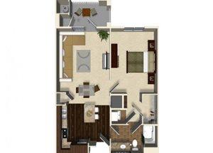 1 bedroom 1 bathroom apartment A2 floor plan at The Verdant Apartments in San Jose, CA