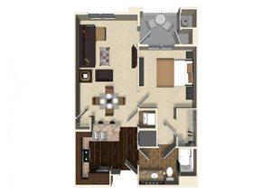 1 bedroom 1 bathroom apartment A4 floor plan at The Verdant Apartments in San Jose, CA