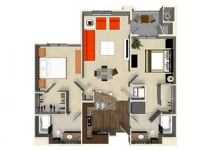 2 bedroom 2 bathroom apartment B1 floor plan at The Verdant Apartments in San Jose, CA