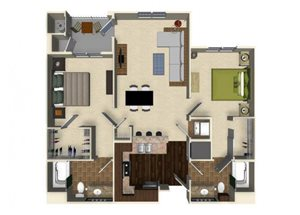 2 bedroom 2 bathroom apartment B2 floor plan at The Verdant Apartments in San Jose, CA