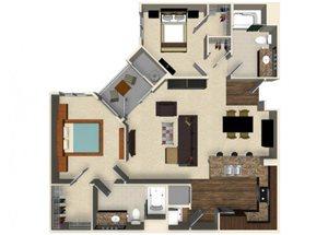 2 bedroom 2 bathroom apartment B3A floor plan at The Verdant Apartments in San Jose, CA