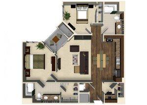 2 bedroom 2 bathroom apartment B3B floor plan at The Verdant Apartments in San Jose, CA