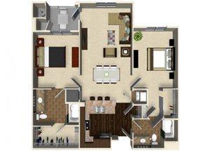 2 bedroom 2 bathroom apartment B4 floor plan at The Verdant Apartments in San Jose, CA