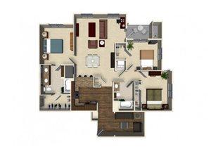 3 bedroom 2 bathroom apartment C1A floor plan at The Verdant Apartments in San Jose, CA