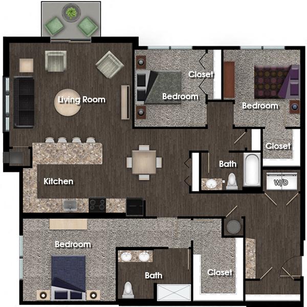Adams A 3 bed 2 bath floor plan